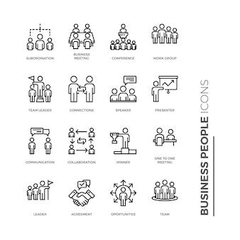 Conjunto de ícone de pessoas de negócios, ícone de estrutura de tópicos