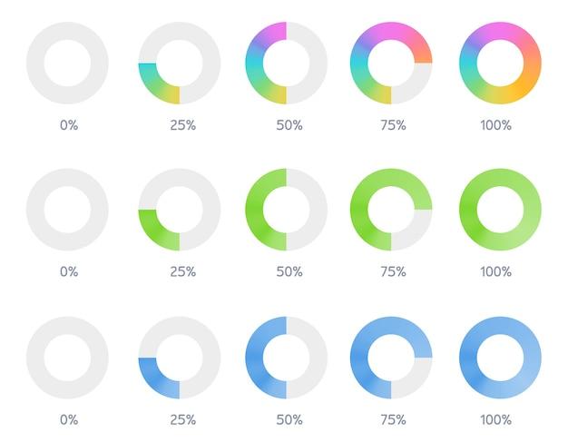 Conjunto de ícone de progresso de download do indicador