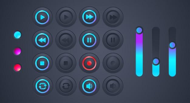 Conjunto de ícone de reprodução de áudio futurista