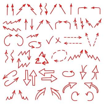 Conjunto de ícone de setas apontando em todas as direções. gráficos de negócios, gráficos, elementos de infográficos