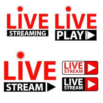 Conjunto de ícone de transmissão ao vivo