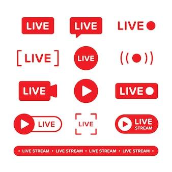 Conjunto de ícone de transmissão de vídeo e transmissão ao vivo.
