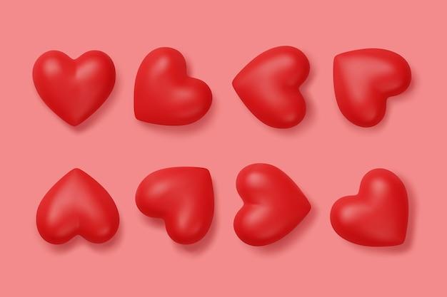 Conjunto de ícone de um coração vermelho isolado em rosa.