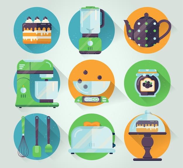 Conjunto de ícone de utensílios de cozinha. cozinhando a ilustração em estilo simples.
