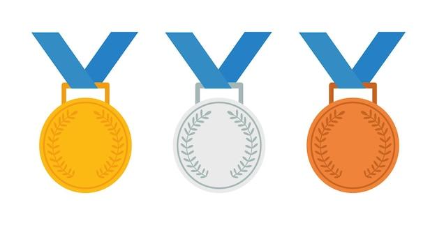 Conjunto de ícone de vetor de medalhas de ouro, prata e bronze