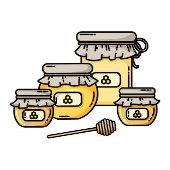 Conjunto de ícone de web de frascos de mel