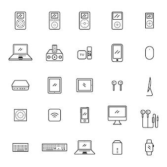 Conjunto de ícone do gadget velho