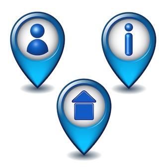 Conjunto de ícone do ponteiro de mapa azul.