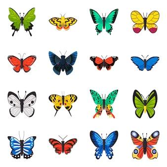 Conjunto de ícone dos desenhos animados de várias espécies de borboletas.