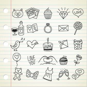 Conjunto de ícone dos namorados em estilo doodle