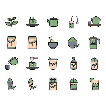 Conjunto de ícone e símbolo de chá verde