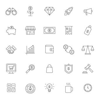 Conjunto de ícone financeiro de negócios