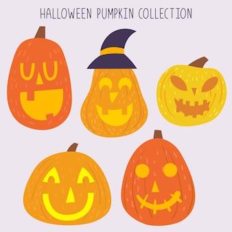 Conjunto de ícone isolado de abóbora de halloween
