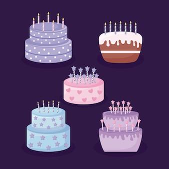 Conjunto de ícone isolado de bolos doces