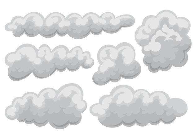 Conjunto de ícone nublado e nuvens em desenho animado e estilo simples.