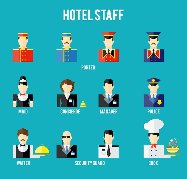 Conjunto de ícone plana de funcionários do hotel. segurança e polícia, porteiro e garçom, recepcionista e porteiro. ilustração vetorial