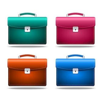 Conjunto de ícone realista maletas coloridas em fundo branco. ilustração conservada em estoque