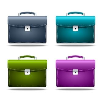 Conjunto de ícone realista maletas coloridas em fundo branco. ilustração
