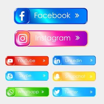 Conjunto de ícones 3d de mídia social Vetor Premium