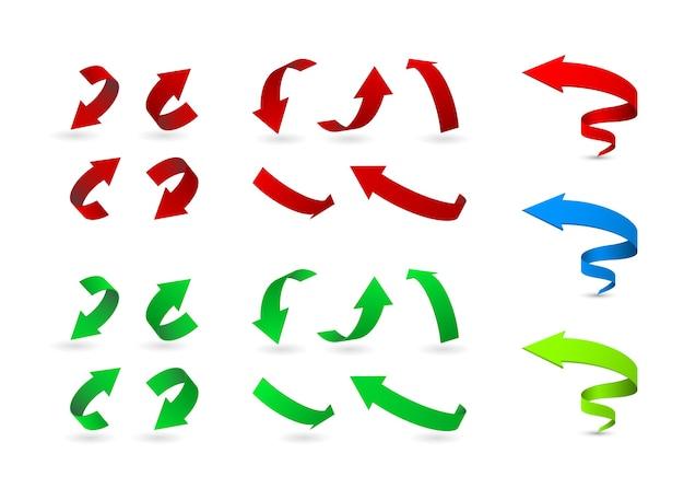 Conjunto de ícones 3d de setas dobradas