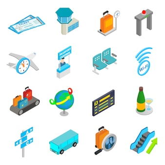 Conjunto de ícones 3d isométrica de aeroporto