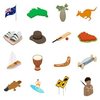 Conjunto de ícones 3d isométrica de austrália
