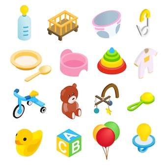 Conjunto de ícones 3d isométrica de bebê