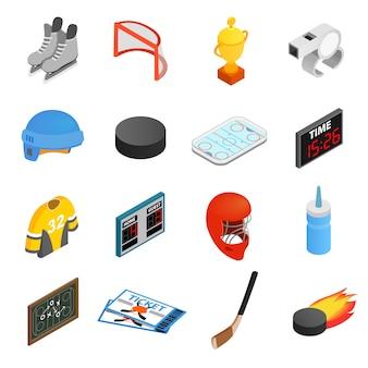 Conjunto de ícones 3d isométrica de hóquei