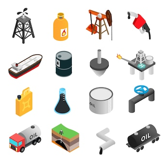 Conjunto de ícones 3d isométrica de indústria de petróleo