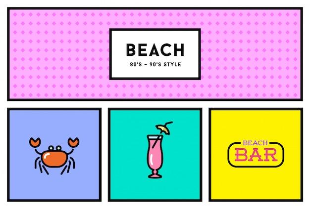 Conjunto de ícones à moda dos anos 80 ou 90 com cores retrô