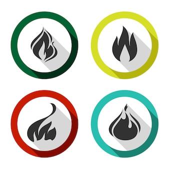 Conjunto de ícones acendem chamas
