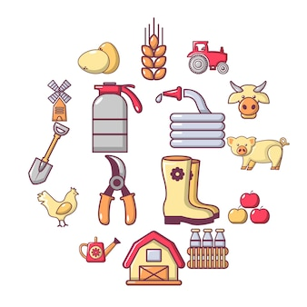 Conjunto de ícones agrícolas fazenda, estilo cartoon