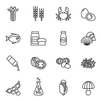 Conjunto de ícones alimentares alergénios