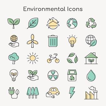 Conjunto de ícones ambientais para negócios em linha simples verde