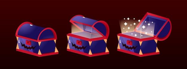Conjunto de ícones animados de caixa de baú de halloween para elementos de recursos gui
