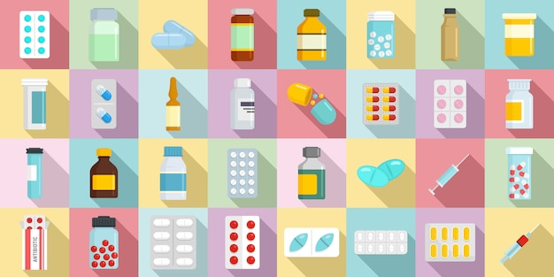Conjunto de ícones antibióticos