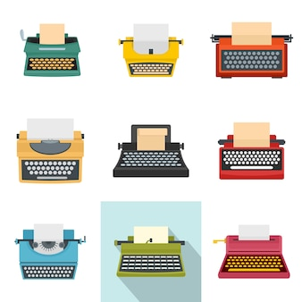 Conjunto de ícones antigos de chaves de máquina de máquina de escrever