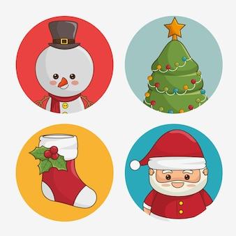 Conjunto de ícones arredondados de natal