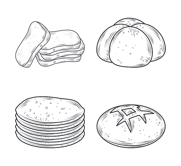 Conjunto de ícones assados, pães diferentes isolados na ilustração branca
