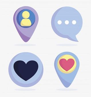 Conjunto de ícones avatar bate-papo mensagem ponteiro de discurso mídias sociais