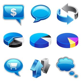 Conjunto de ícones azul vectro
