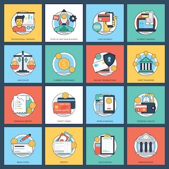 Conjunto de ícones bancários e financeiros