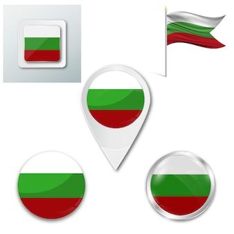Conjunto de ícones bandeira nacional da bulgária