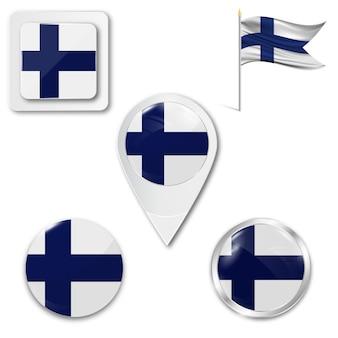 Conjunto de ícones bandeira nacional da finlândia
