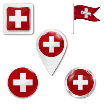 Conjunto de ícones bandeira nacional da suíça