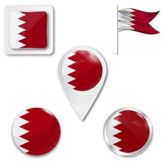 Conjunto de ícones bandeira nacional do bahrein