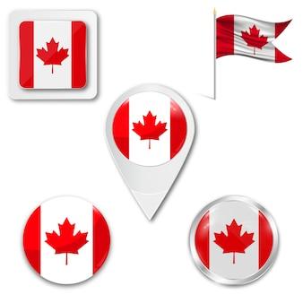 Conjunto de ícones bandeira nacional do canadá