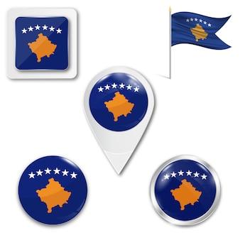 Conjunto de ícones bandeira nacional do kosovo