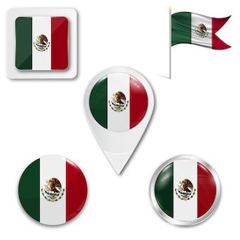 Conjunto de ícones bandeira nacional do méxico