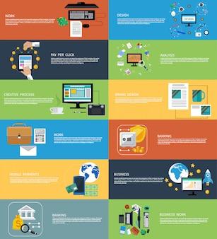 Conjunto de ícones banners para trabalho de negócios